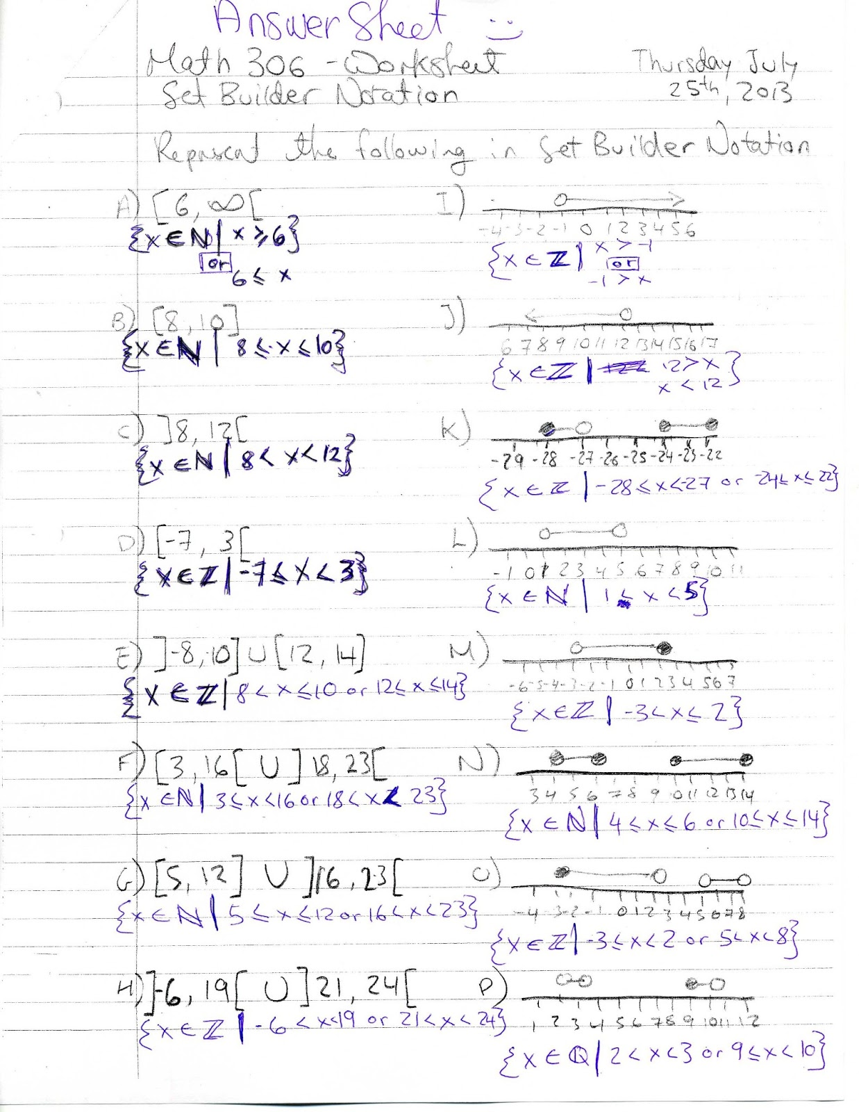 GylesSummerMath2013 Answer Sheet for Set Builder Notation – Set Builder Notation Worksheet
