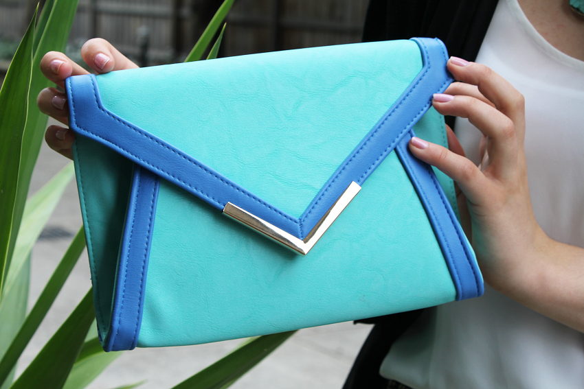blue, colour block, color block, clutch, metal, colette hayman, ss 13/14,