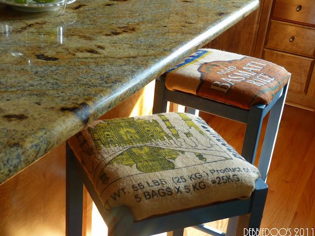 P1080484 DIY burlap coasters, stools, lampshades and more!