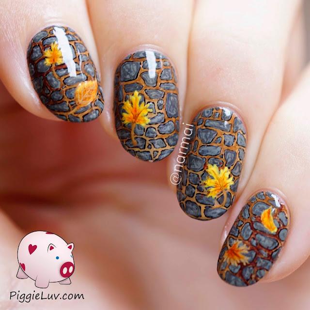 Last Autumn Nail Art Of The Year: PiggieLuv: Freehand Fall Garden Path Nail Art