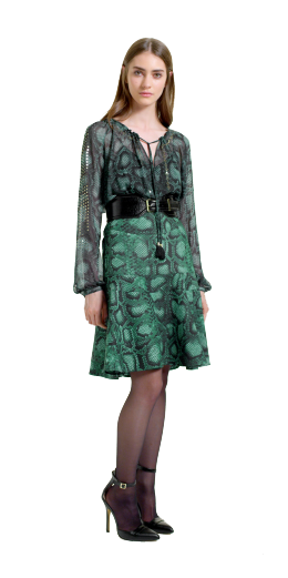 Altuzarra For Target Collection: Embroidered Peasant Blouse, Flounce skirt, green python print, croc belt, ankle strap shoeion, designer, style, the purple,scarf, melanie.ps, toronto, ontario, canada