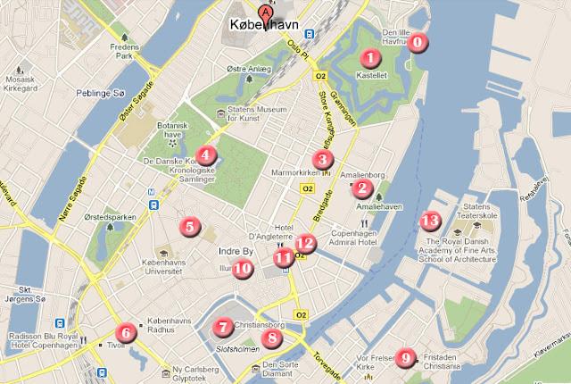 mapa ruta de un dia por Copenhague