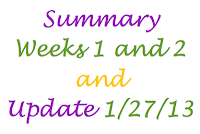 Summary Weeks 1 and 2 and Update January 27, 2013