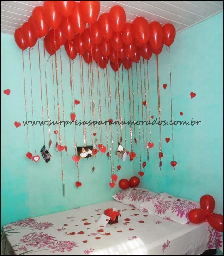 balões no teto para o namorado