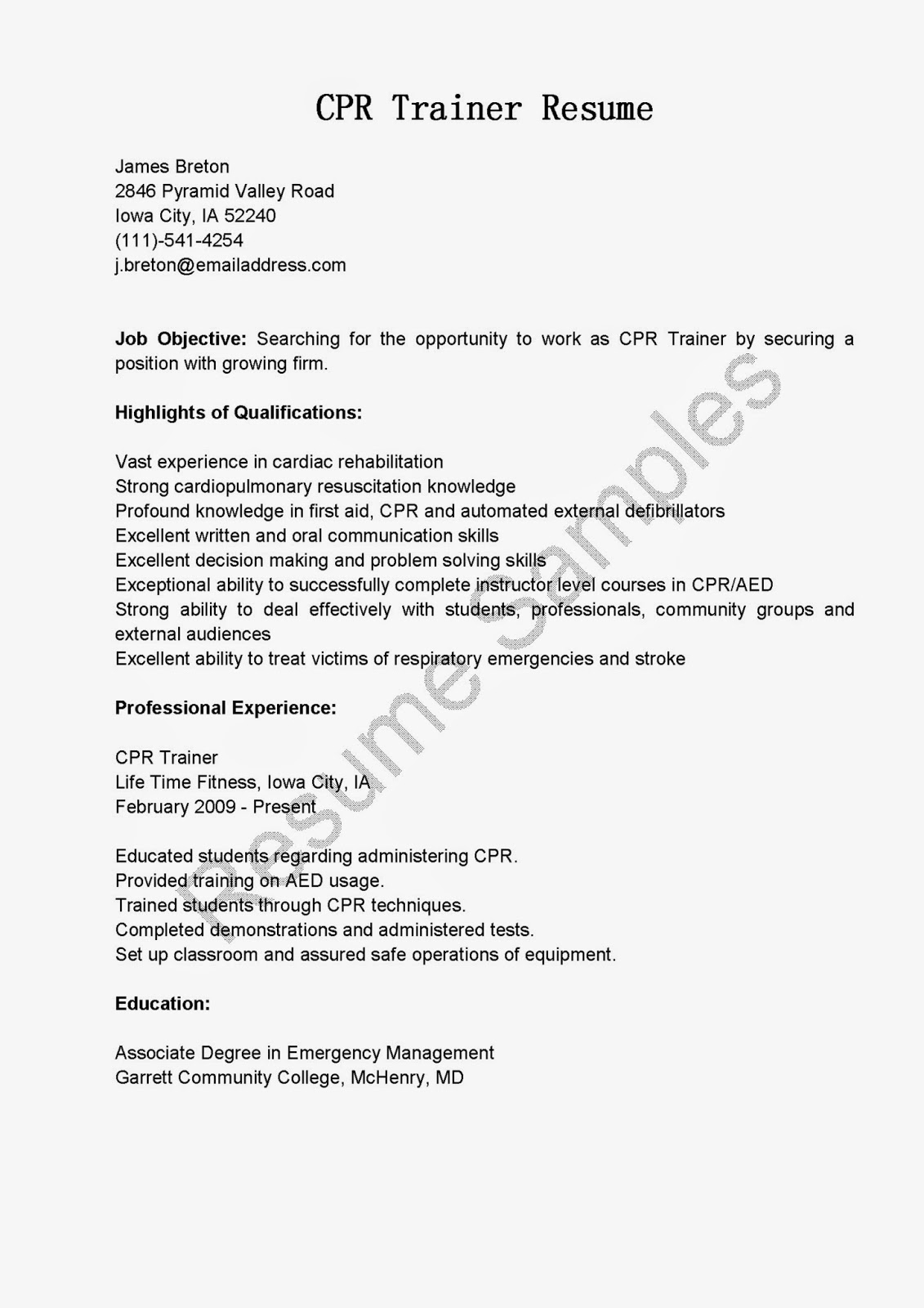 Cpr trainer sample resume