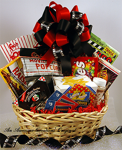 A movie-themed gift basket.