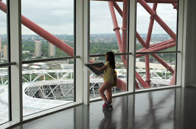 Interactive screens at ArcelorMittal Orbit viewing deck