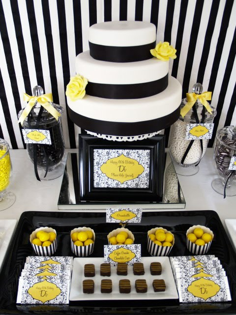 Kara 39 s party ideas black white yellow 60th birthday for 60th birthday decoration ideas