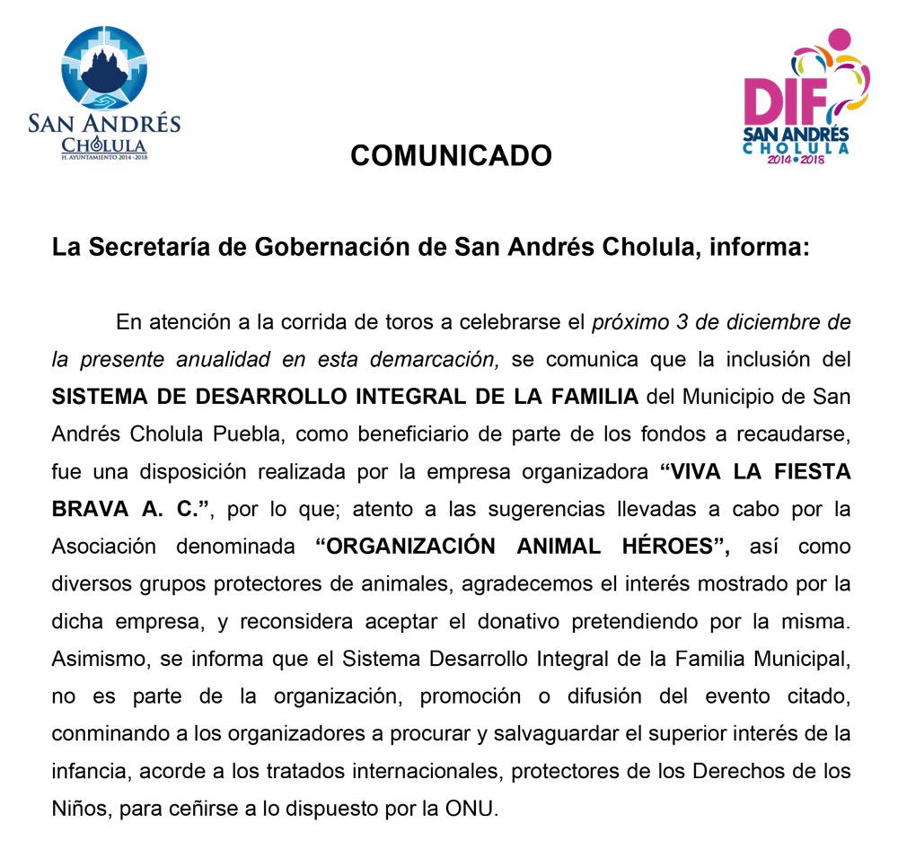 El ayuntamiento de San Andrés Cholula, aclara: