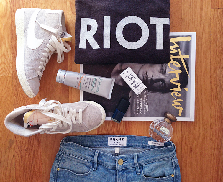 Fashion over reason fall weekend essentials, Nike blazers, Suburban Riot sweater, Frame Denim jeans, Replenix sunscreen, Interview magazine, Phillip Lim for NARS nail polish, Tocca Giulietta perfume