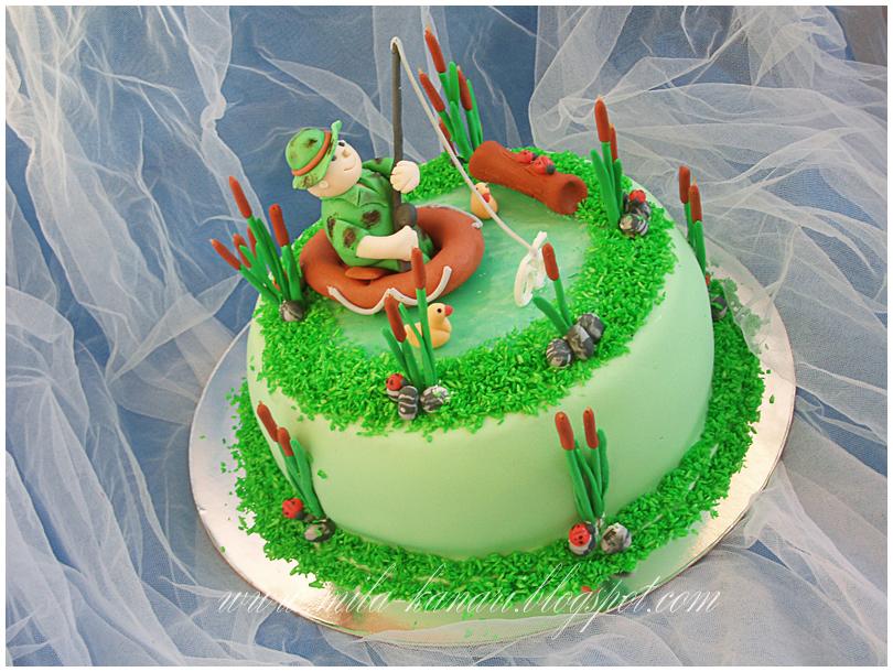торт папе на день рождения рыбалка