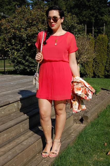 Floral Zara blazer, pleated salmon dress, Sam Edelman Serena sandals and a Coach Legacy bag