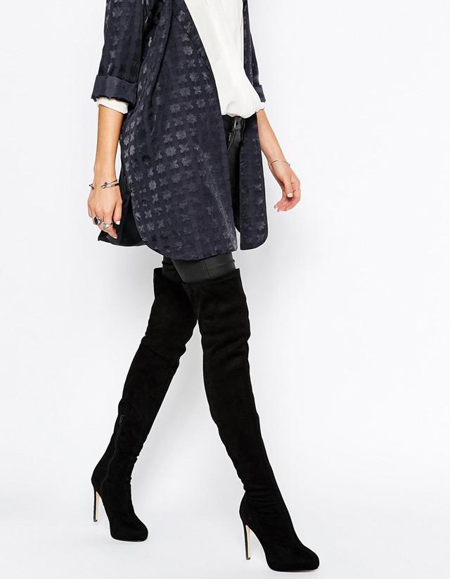 What to wear with over the knee boots - long button down shirt. Čizme preko koljana na štiklu i kako ih stilizirati. Moda, dizajn