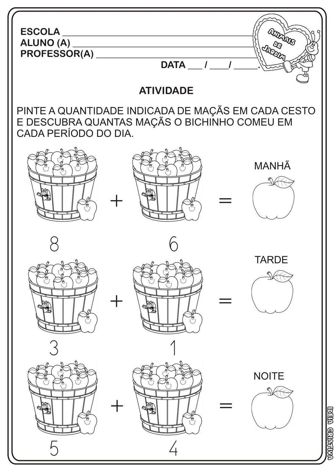 Fabuloso Atividade Matemática Projeto Animais de de Jardim | Ideia Criativa  YI22