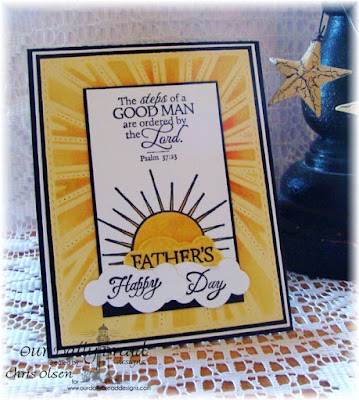 Our Daily Bread Designs, Hello Sunshine, Good Man, Sunburst Background, Clouds and Raindrops, Designed by Chris Olsen