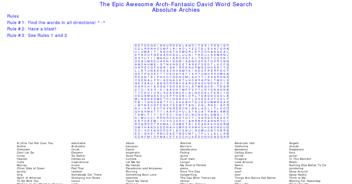 Absolute Archies: The Epic Awesome Arch-fantastic David Word Search