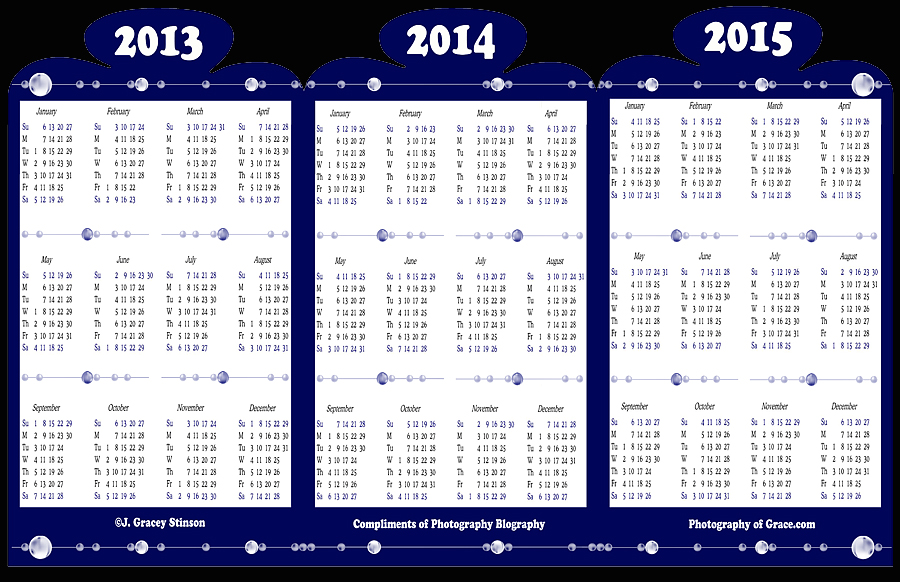 Photography Blography 3 Yr Folding Calendar Template For 2013 2014