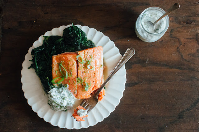 Slow Roasted Salmon with Herbed Yogurt (AIP, Paleo, low FODMAP, Whole 30)
