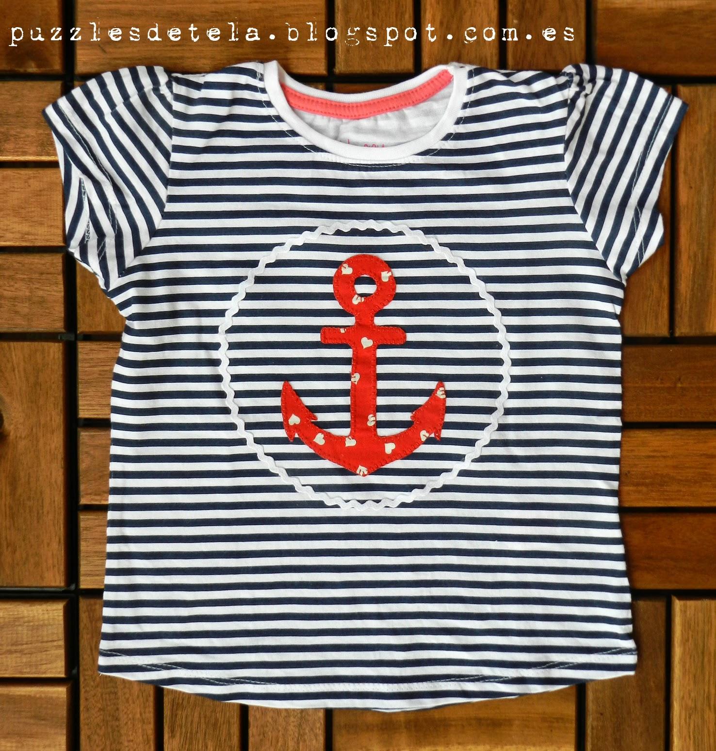 camisetas, camisetas niña, camiseta patchwork, ancla, patchwork, aplicaciones, aplicaciones patchwork, camiseta niña verano, camiseta verano, camiseta con aplicaciones de patchwork, vacaciones, verano