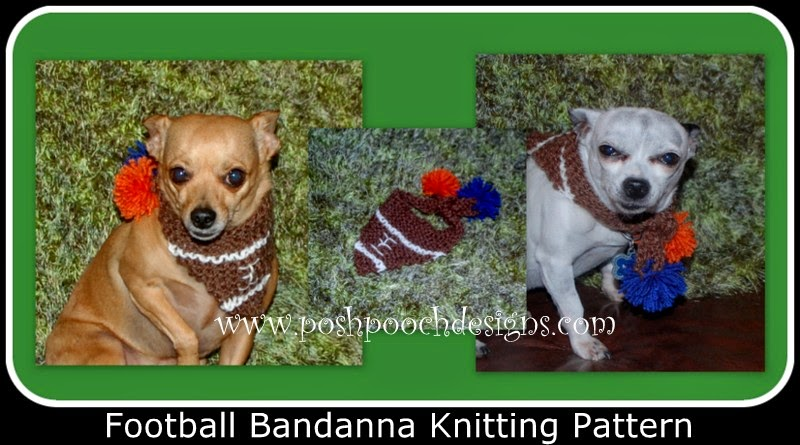 Knitting Patterns For Dog Bandanas : Posh Pooch Designs Dog Clothes: Football Dog Bandanna - Free Knitting pattern...