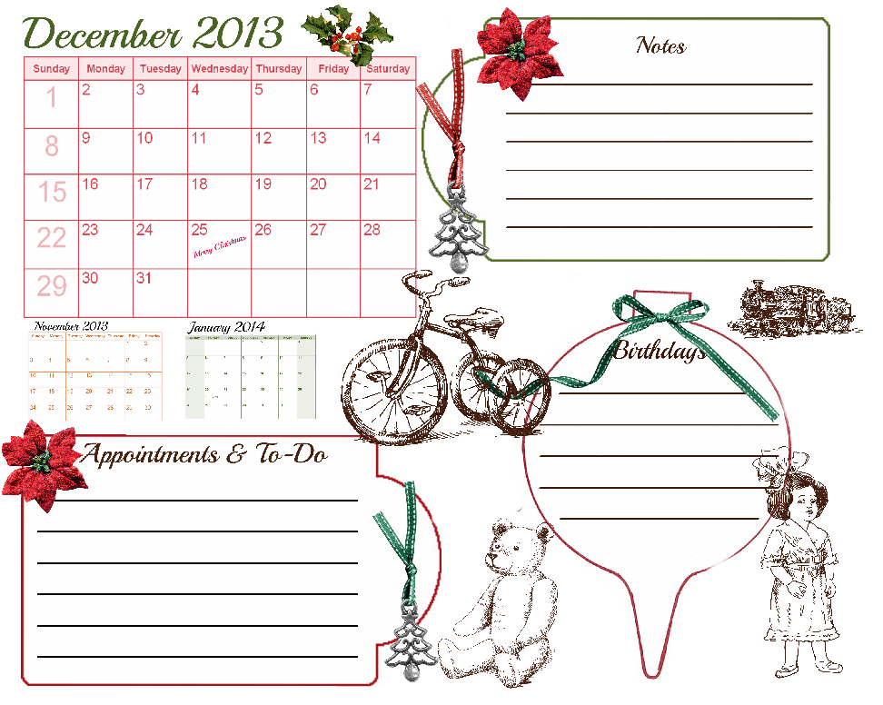 christmas with glenda  december 2013 calendar