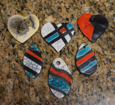 Raku pottery pendants - my first experiment with ceramic jewelry.