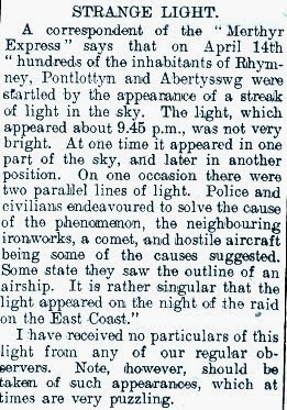 Strange Light - Barry Dock News (Glamorgan Wales) June 1915