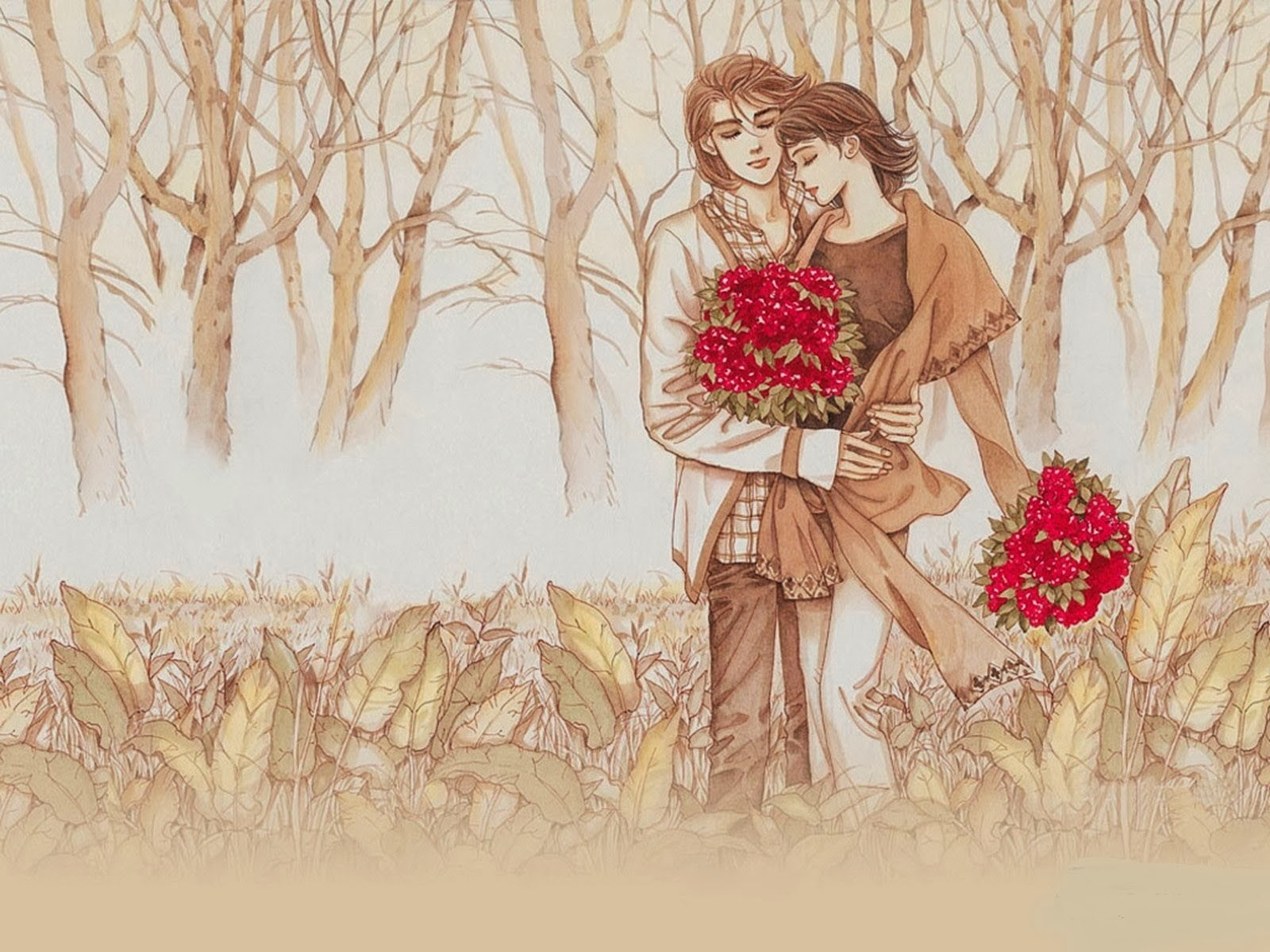 Happy  Hug Day 2014 HD Painting Wallpapers