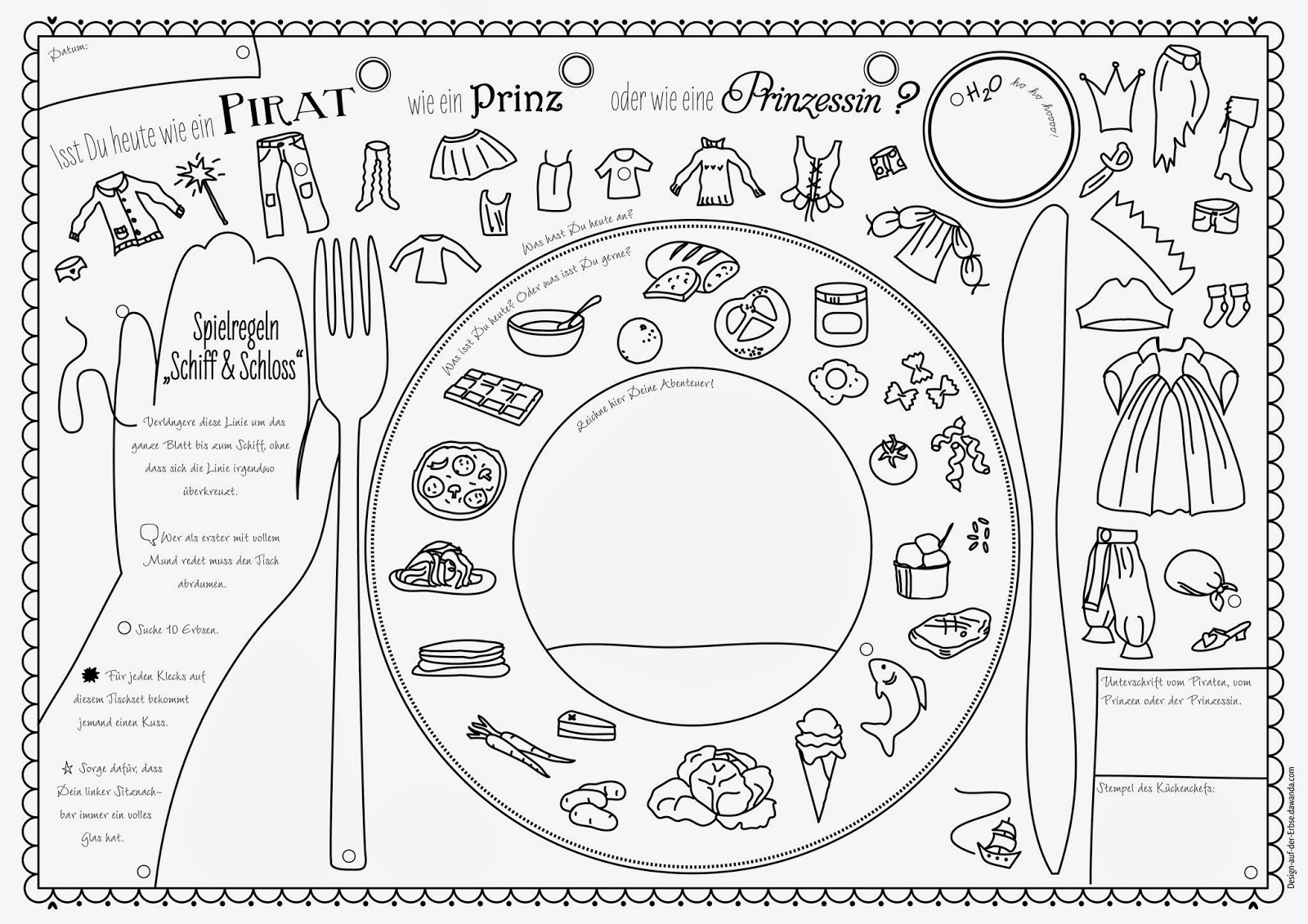 Design auf der erbse tischmanieren mit kindern for Tischset design