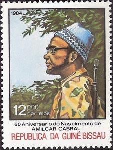 60 Aniversario del nacimiento de Amílcar Cabral, sello de Cabral en uniforme de combate, Guinea Bissau, 1984
