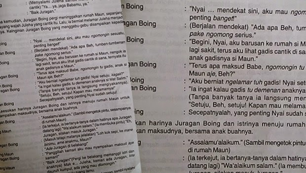 Juragan Boing, Cerita Rakyat Tema Percintaan dalam Buku Pelajaran SD