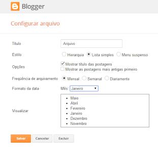 como configurar o gadget arquivo do blog