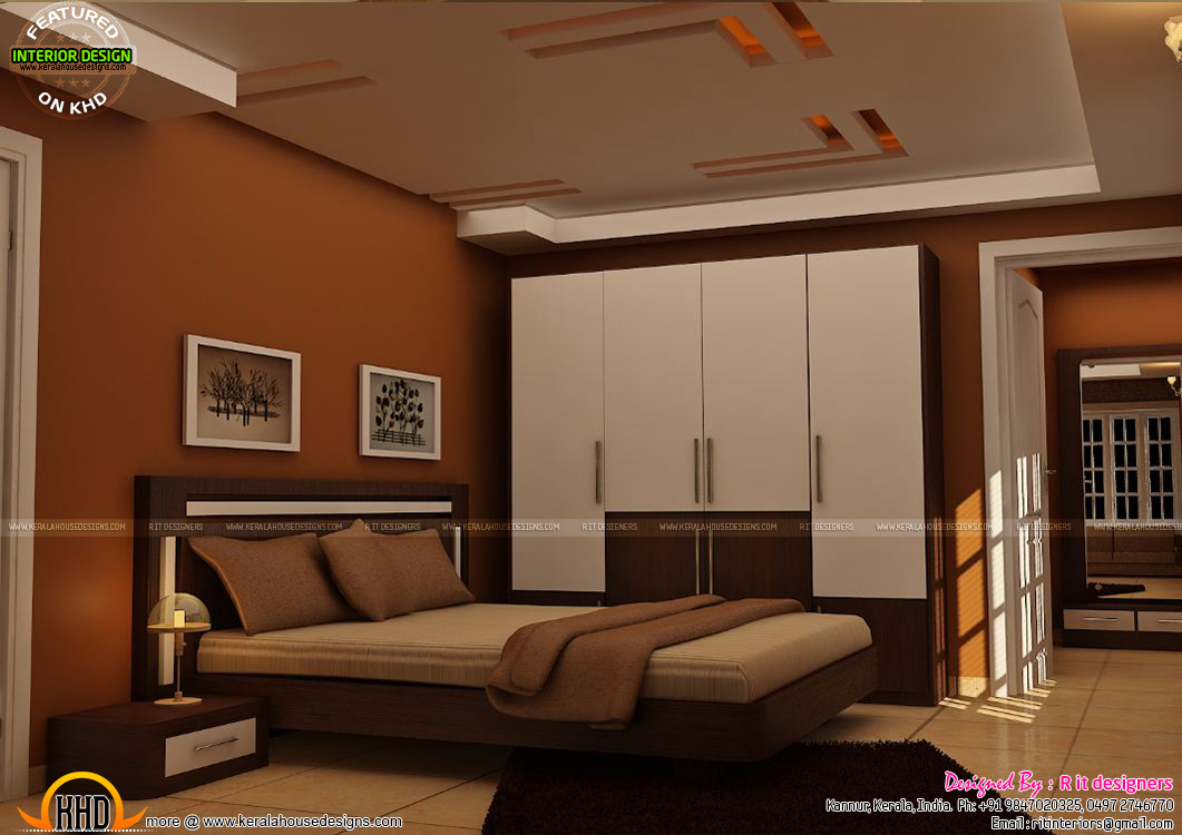 Master bedrooms interior decor kerala home design and for Interior decoration for bedroom pictures