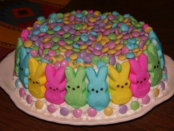 Peep Decorated Easter Cake