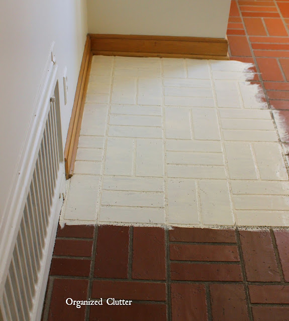 Chalk painted vinyl tiles organized clutter for Painting vinyl floors with chalk paint