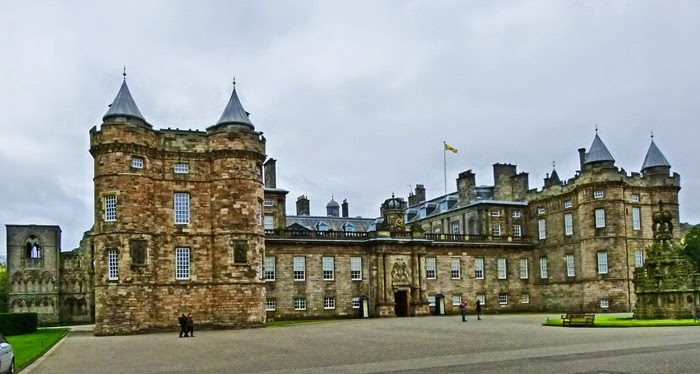 Holyroodhouse, Queen, Scotland, James V, tower, Victorian fountain.