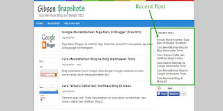 Cara Memasang Recent Post di Blog