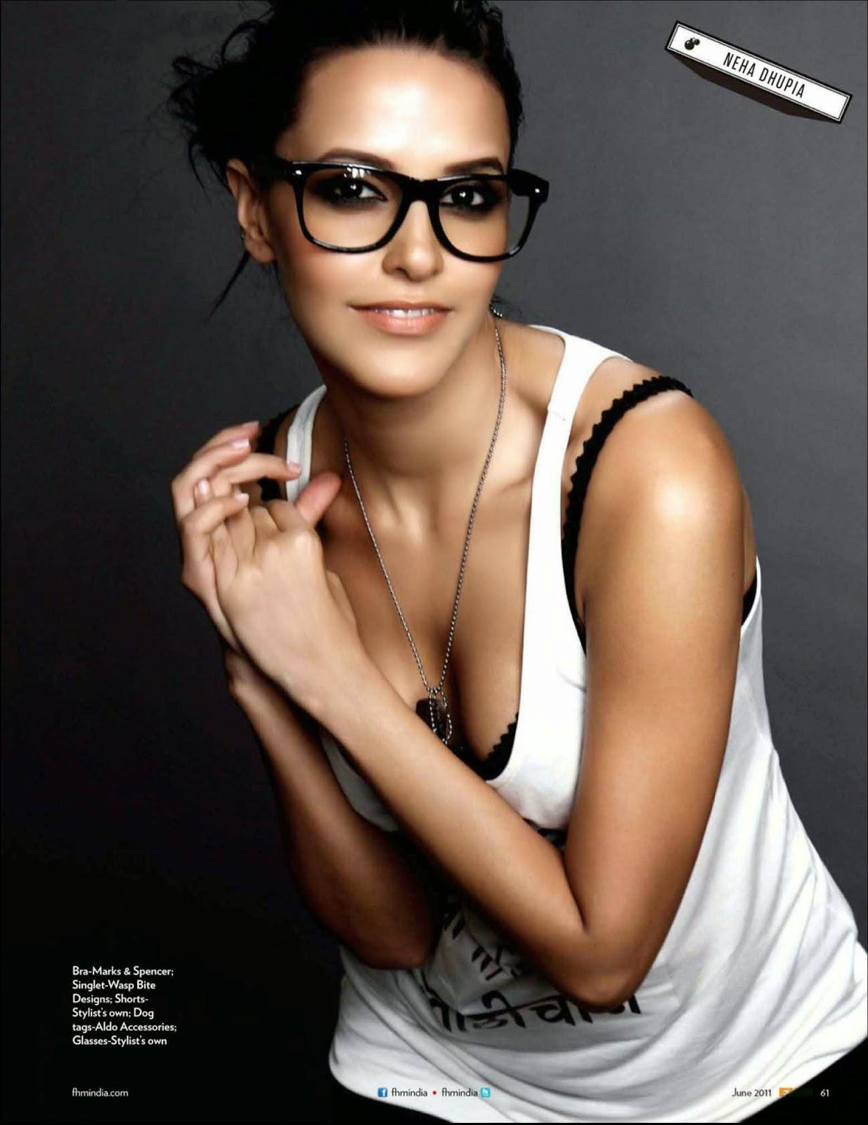 Neha Dhupia in white vest in FHM India July 2011 Magazine photoshoot