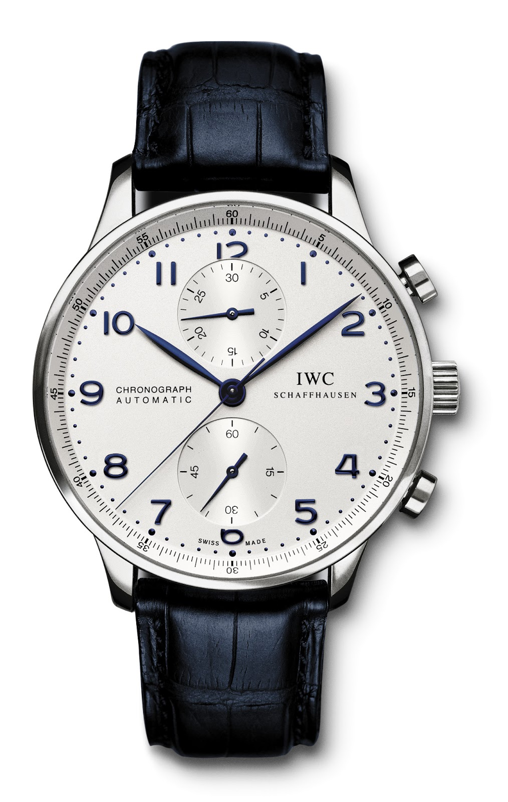 iwc portuguese automatic steel blue mens iw500107