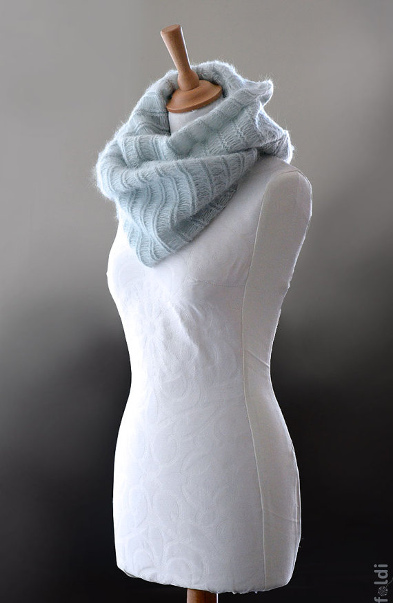 Knitted cowl, knitted silk and mohair cowl, knitted snood in light blue colour 'Smoke Icicle'