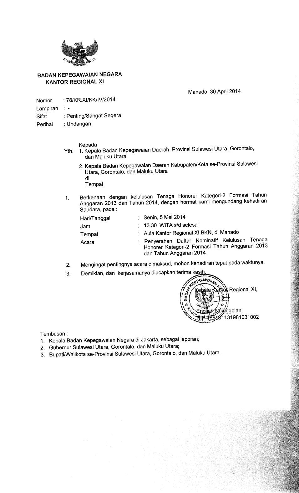 Surat undangan Penyerahan Daftar Nominatif TH K2 Formasi Tahun Anggaran 2013 dan 2014