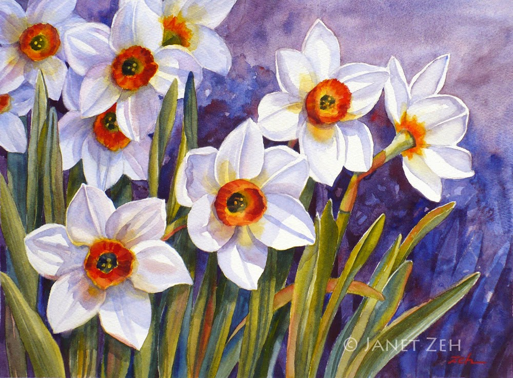 Bright daffodils bloom in a Spring garden in this watercolor painting