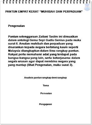 """PANTUN EMPAT KERAT """"MUHIBAH DAN PERPADUAN"""""""