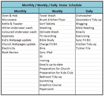 Sandra S Ark Housework Organising Schedule 2015