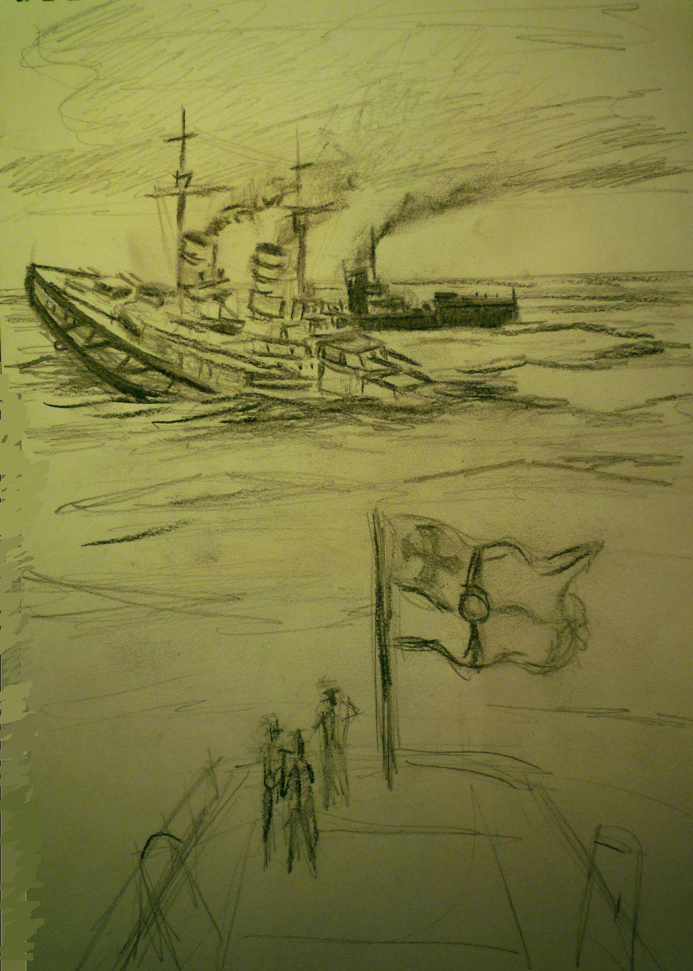 Boceto del hundimiento del SMS Lutzow con torpedo