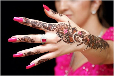 Henna design with special beads and stones