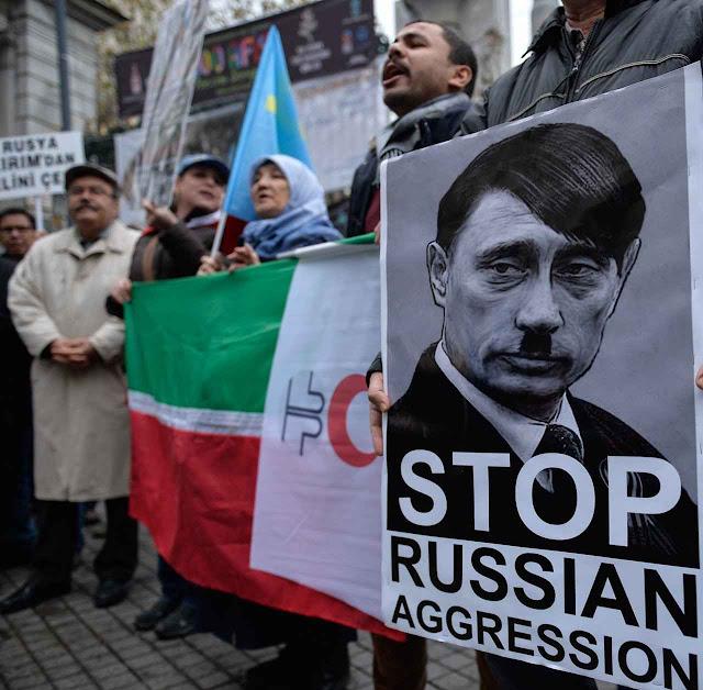 Protesto dos tártaros contra Putin, Istambul.