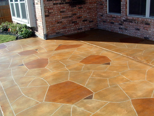Look To Your Exterior House With Patio Concrete Staining Project