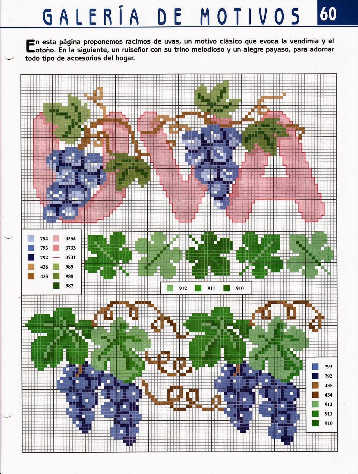 Схемы вышивки винограда крестиком 57