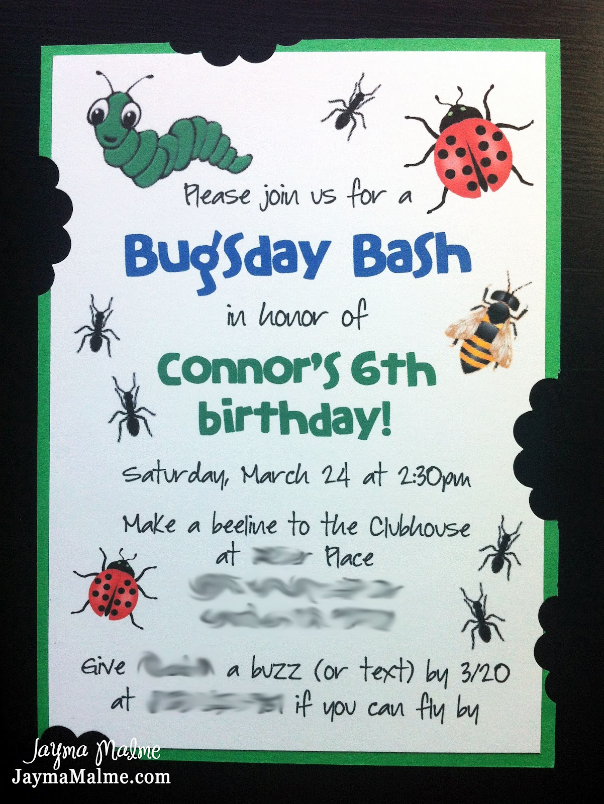 Playing with Paper: Scrapbooks, Cards & DIY: Happy Bugsday - Boy's 6th Birthday Invitation ...
